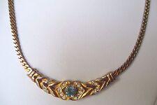 collier bijou vintage plaqué or maille plate déco central cristaux solitaire 508
