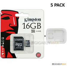 PACK of 5 Kingston 16GB MicroSD SDHC Class 4 Flash Memory Card + CASE Lot