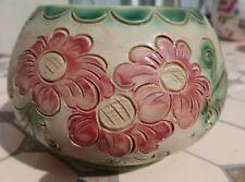 Bonbonnière pot en grès d'Alsace Betschdorf Décor fleurs signé Remmy fils