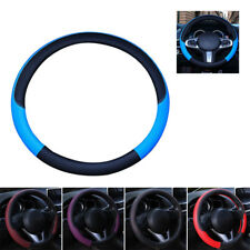 Car Steering Wheel Cover Black&Red Anti-slip Protector PU Leather Universal 38cm