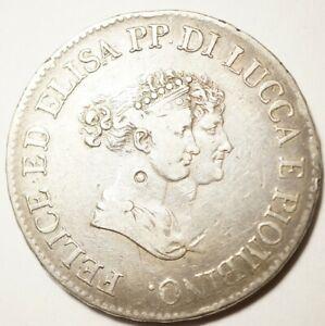 NAPOLEONIDES - ITALIE - LUCQUES & PIOMBINO : 5 FRANCHI 1805 PETITS BUSTES