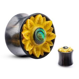 "PAIR-Wood Arang w/Sunflower Saddle Flare Ear Plugs 19mm/3/4"" Gauge Body Jew"