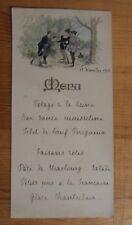 menu illustré - 1913 - scène de chasse