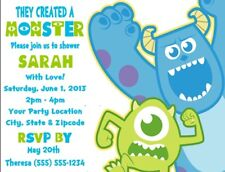 Monsters Inc. Baby Shower or Birthday Party Invitations Personalized