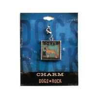 Dogs Rock Boxer Dog Charm with Lobster Clasp - Double-Sided