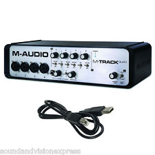 M-Audio M-Track QUAD 24-Bit 4 Channel USB MIDI Audio Interface MTrack + Software