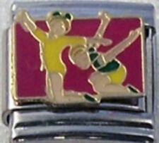 GYMNASTS ON FLOOR GYMNASTICS Enamel Italian Charm 9mm Link- 1x SP056 Single Link
