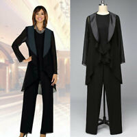 Black Mother Of the Bride Pant Suits Chiffon Outfit Jacket Plus size For Wedding