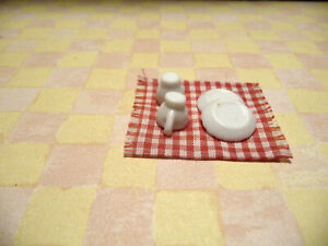 Dollhouse Miniature Handcrafted Red Checked Tea Towel With Plates and Cups
