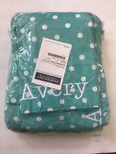"""Pottery Barn Teen Blue Dottie Full Sheet Set Personalized Monogrammed """"Avery"""""""
