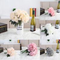 5 Heads Artificial Silk Flowers Bridal Hydrangea Peony Bouquet Wedding Decor HOT