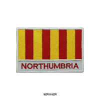 NORTHUMBRIA County Flag With Name Embroidered Patch Iron on Sew On Badge
