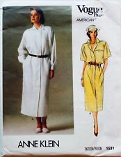 Vogue #1531 ANNE KLEIN Classic Vtg 80's Dress Designer Sew Pattern Sz 12 UC/FF