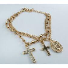 Bracciale Rosario 3 Fili Color Oro Grani Doppia Croce Medaglietta Madonna