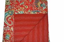 Indian red handmade cotton kantha quilt reversible bedspread queen Vintage throw