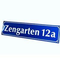 Straßenschild Hausnummer Emaille 15x70 cm Schild mit Wunschtext Wunschname