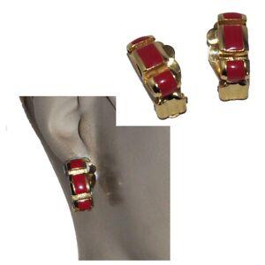 Orena Paris Earrings Vtg Clip Color Gold Enamel Red Jewel