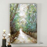 Contemporary Impressionist Forest Path Wall Art   Large Oil Painting Trees