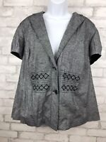 Lane Bryant Chambray Button Up Top Linen Blend Collared Jacket 18/20W