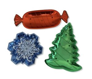 Plastic Metallic Bowls 3 Pack Tree Snowflake Candy Christmas 3 Pack New