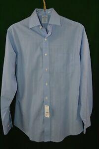 NWT Beautiful Brooks Brothers Men's L/S Shirt Blue Plaid SZ 15.5 4/5
