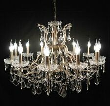 Large Silver 12 Arm Branch French Shallow Cut Glass Chandelier High Quality