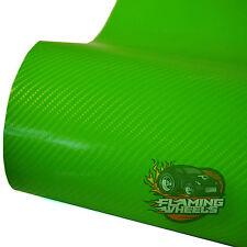 1.5m x 2m 4D Carbon fibre vinyl wrap GREEN semi gloss car bonnet roof + SQUEEGEE