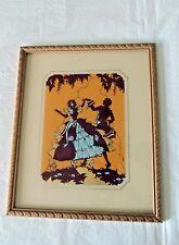 Antique Vintage Victorian Dancing Color Silhouette REVERSE GLASS PAINTING