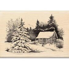 INKADINKADO RUBBER STAMPS SNOWY CABIN IN THE WOODS NEW wood STAMP