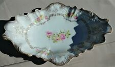 """Vintage GERMANY Hand Painted SERVING PLATTER Scalloped 14"""" x 9-1/2"""""""