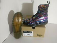 Dr Martens 1460 Pascal Sequin Flip Rainbow & Silver 8 Eye Boots SIZE UK 5 38