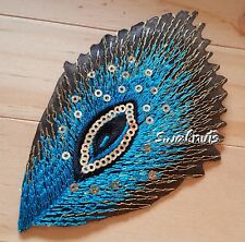 Blue Iron on Sequin Embroidered PEACOCK Feather Patch Applique