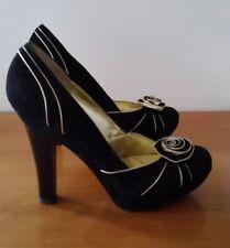 Escada Ladies Black Velvet High Heel Shoes (size 39)