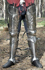 SCA advanced leg armor, complete gothic fluted cuisses, knees and greaves