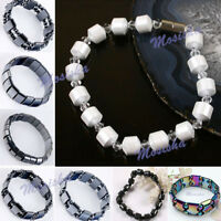 Black/White Hematite Magnetic Therapy Bracelets Rectangle Round Beads US