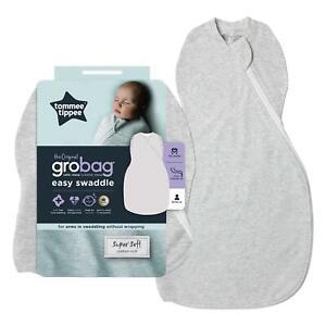 Tommee Tippee Grobag Newborn Easy Swaddle - Baby Sleeping Bag - 0-3m - Grey Marl
