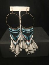 Earrings Stunning Long Dangle Beaded With Feathers