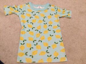 Hanna Andersson Pajama Shirt Top Size 8 Lemon Pattern Short Sleeve Summer
