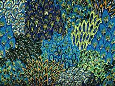 "Stretch Jersey ITY Knit Turq Peacock Print Poly Spandex 60"" Wide Fabric BTY"