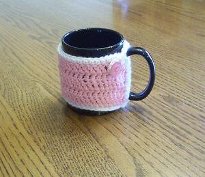 Hand Crochet Pink with White Trim Coffee Mug Cozy