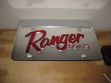 Ranger boats/ license plate/  Chrome & Red acrylic inlay