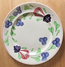 "Antique British Anchor Plate England Floral Pattern Sponge Ware 9"" Stick Spatter"