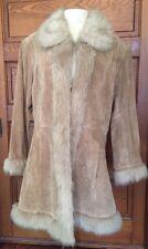 Women's Wilsons Leather Maxima Camel Suede Faux Fur Trim Jacket Coat Size M *