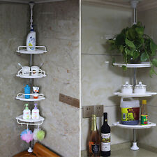 NON RUST BATHROOM TELESCOPIC CORNER SHELF STORAGE 4 TIER SHOWER ORGANISER White