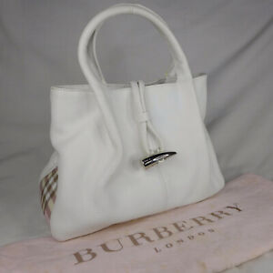 Authentic Rare Vintage Burberry Nova White Leather Small Tote Handbag Purse VGC
