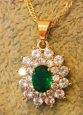 Gorgeous 18K Gold Plated Emerald & Double-liers Crystal Luxury Style Set