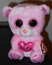 "Ty Beanie Boos ~ Paris the 6"" Pink Bear ~ Rare Exclusive ~ New with Mint Tags"