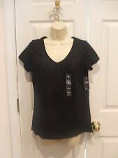 NWT  st.johns bay black cotton blend short sleeve top  small