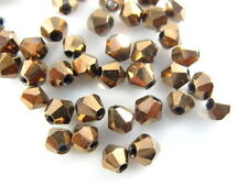 Bulk 200ps Copper Glass Crystal Faceted Bicone Beads 4mm Spacer Jewelry Findings