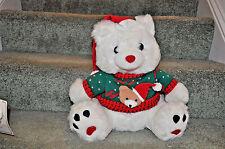 Plush Christmas bear wearing a red & green sweater w/ a Santa cap. Free Shipping